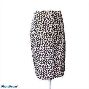 Ann Taylor Floral Print Skirt Navy/Cream/Pink Sz10